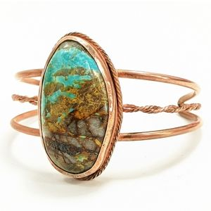 Vintage Healing Copper & Turquoise Cuff Bracelet